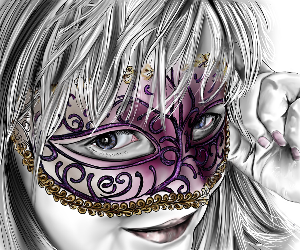Illustration of woman with Mask over her eyes.