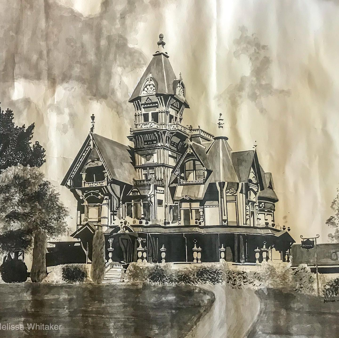 Ink illustration of a Victorian Manor house in Eureka, California.