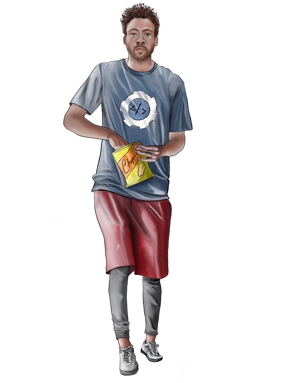 Digital color version of rough draft of the software developer.