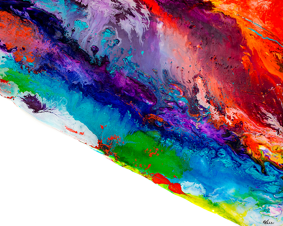 Multi-colored abstract painting of colors swirled together .
