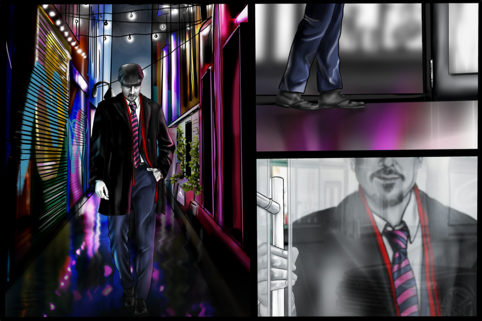 """The client asked for a series of scenes to explain the process of hiring their firm. Working together we came up with a Graphic Novel style set of panels to create a feeling of adventure.  This is Panel 1 """"The Entrance"""""""