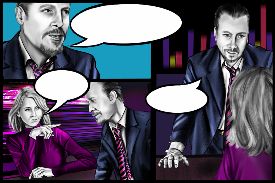 """Scene 3 """"The Hurdles"""" was to show a conversation between the Chief Marketing Officer and the CEO of the company.  They are discussing the hurdles that they will face to accomplish their goals. This image shows the some of the speech bubbles supplied to the client."""