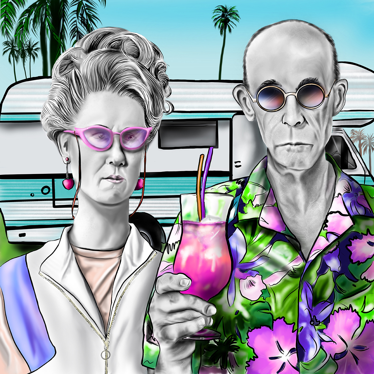 A parody image of the painting American Gothic.  The couple is standing in front of a camper trailer and dressed in a hawaiian shirt and track suit.